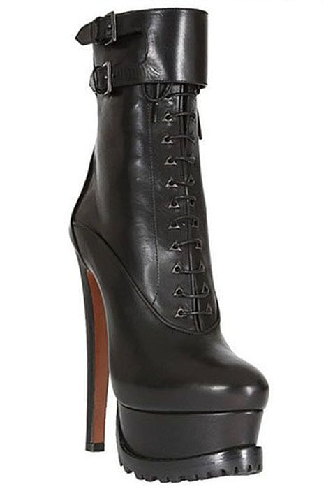 Azzedine Alaia Leather Lace-Up Platform Boots