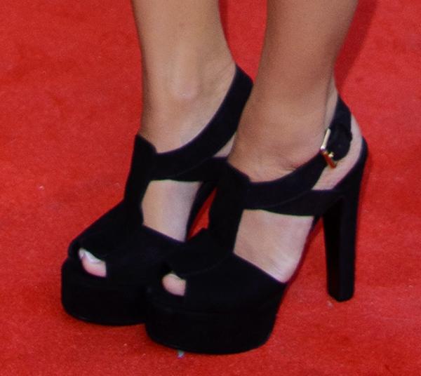 """Caroline Flack's suede Kurt Geiger """"Gabrielle"""" sandals"""