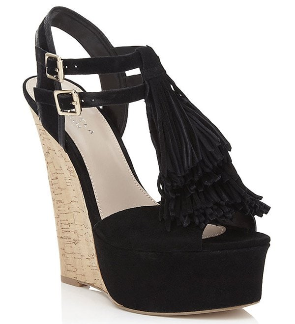 "Carvela Kurt Geiger ""Kola"" Wedge Sandals in Black"