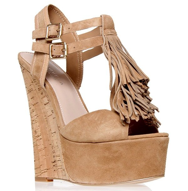 "Carvela Kurt Geiger ""Kola"" Wedge Sandals in Beige"