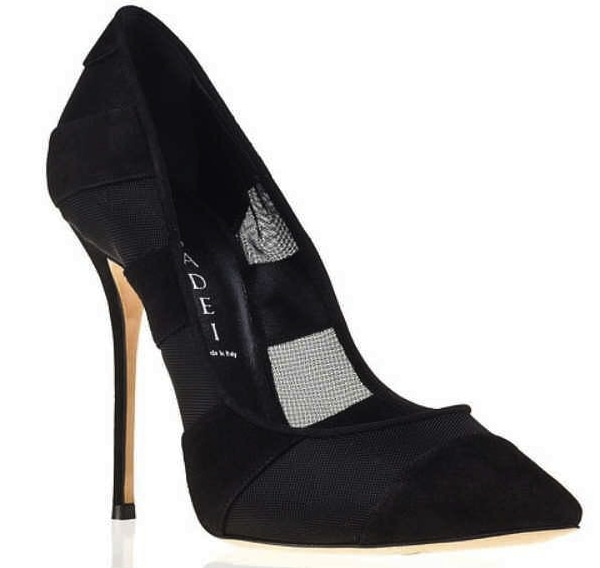 Casadei Sheer Black Pointed-Toe Dress Pumps