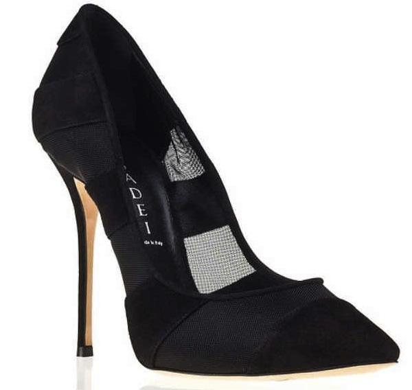 Casadei Sheer Black Pointed-Toe Dress Pumps