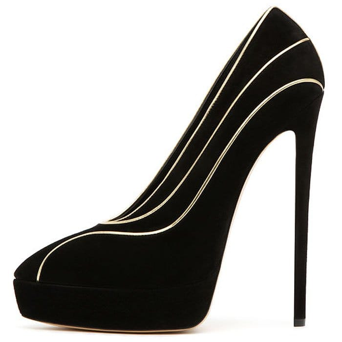 Casadei suede platform pumps with gold piping
