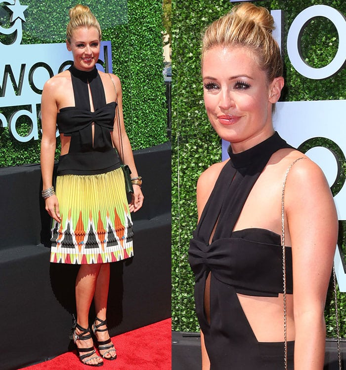 Cat Deeley was daring yet summery in her Etro dress, which featured a colorful pleated skirt and a revealing black top with a bow accent on the bust and some cutout details
