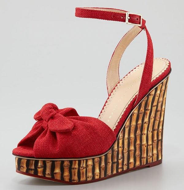 "Red Charlotte Olympia ""Miranda"" Bamboo-Print Wedges"