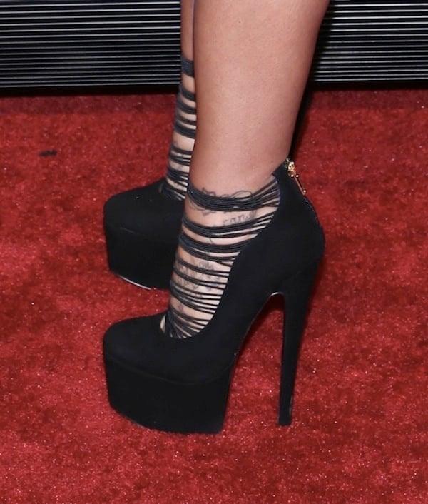 Deena Cortese wearing sky-high London Trash 'Ceres' boots