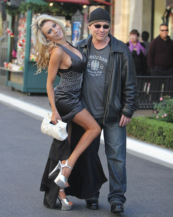 Courtney Stodden and husband Doug Hutchison at The Grove in Los Angeles on December 6, 2011