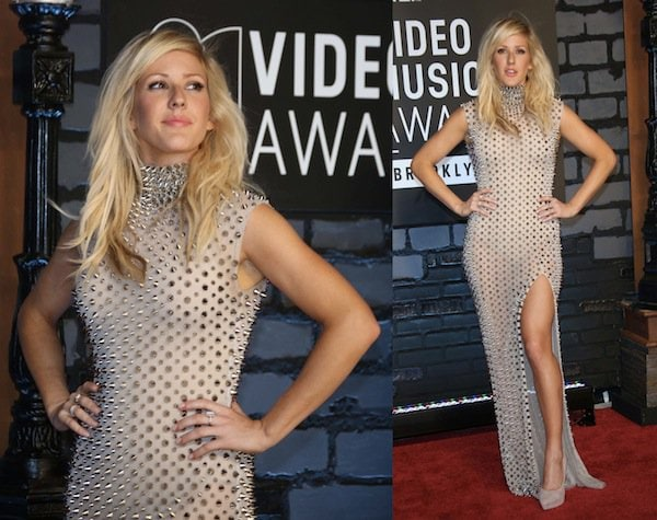 Ellie Goulding wearing a spiked and studded Fern Amato creation