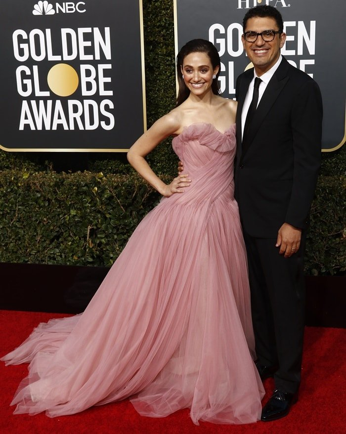 Emmy Rossum and her husband Sam Esmail at the 2019 Golden Globe Awards at the Beverly Hilton Hotel in Beverly Hills, California, on January 6, 2019