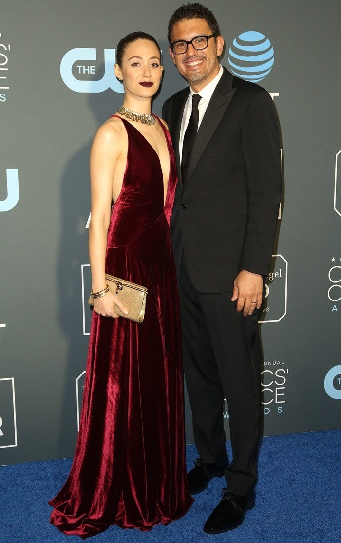 Emmy Rossum and her husband Sam Esmail at the 2019 Critics' Choice Awards held at the Barker Hangar in Santa Monica, California, on January 13, 2019