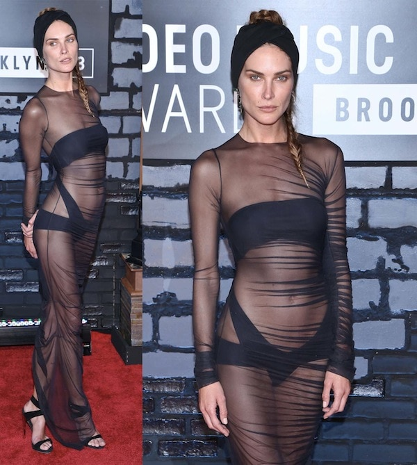 Erin Wasson showed us a lot of herself in her see-through dress paired with Giuseppe Zanotti sandals at the 2013 MTV Video Music Awards at Barclays Center in Brooklyn, New York, on August 25, 2013