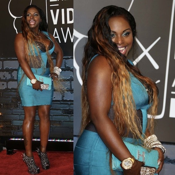 Foxy Brown in Giuseppe Zanotti Gaga boots for the 2013 MTV Video Music Awards at the Barclays Center in Brooklyn, New York, on August 25, 2013