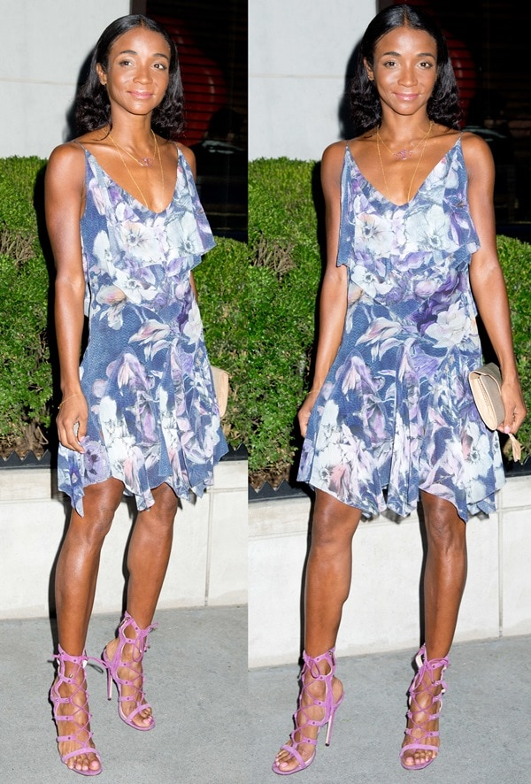 Genevieve Jones paraded her legs at the Marchesa Voyage Launch Party in New York City on August 16, 2013