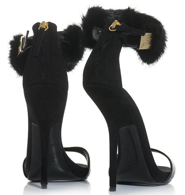 Giuseppe Zanotti Crocodile-Embossed & Mink-Ankle-Strap Sandals