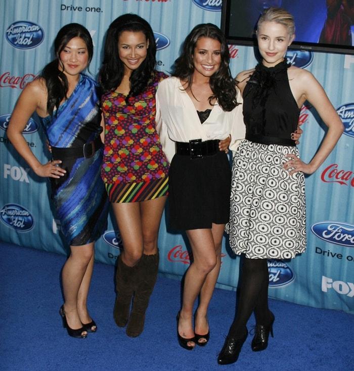 Glee actresses Jenna Ushkowitz, Naya Rivera, Dianna Agron, and Lea Michele