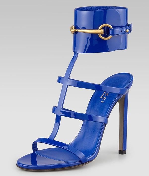 Gucci Patent Ankle-Wrap Cage T-Strap Sandals Cobalt