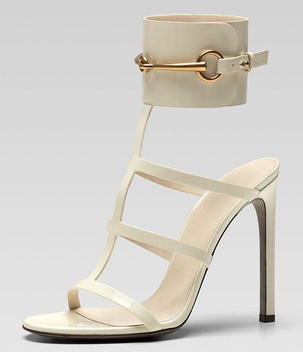 Gucci Patent Ankle-Wrap Cage T-Strap Sandals