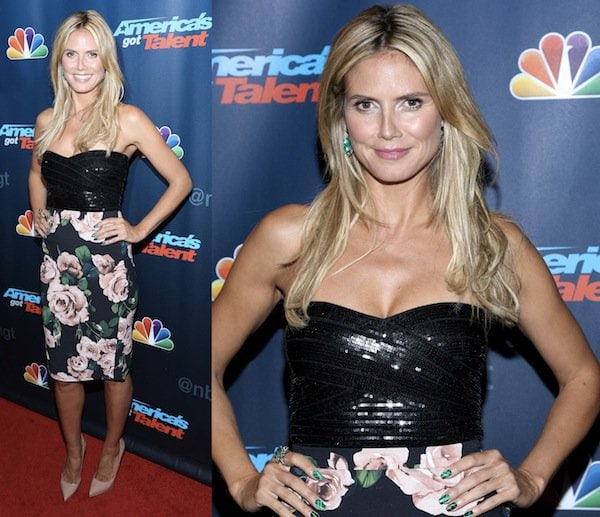 Heidi Klum in a Dolce & Gabbana dress at the 'America's Got Talent' Post Show Red Carpet at Radio City MusicHall on August 14, 2013, in New York City