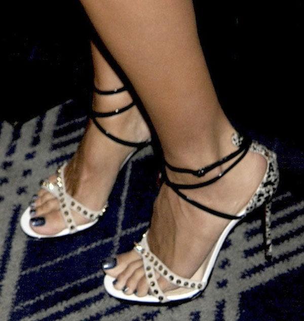 Heidi Klum wearing Christian Louboutin 'Monocronana' Sandals