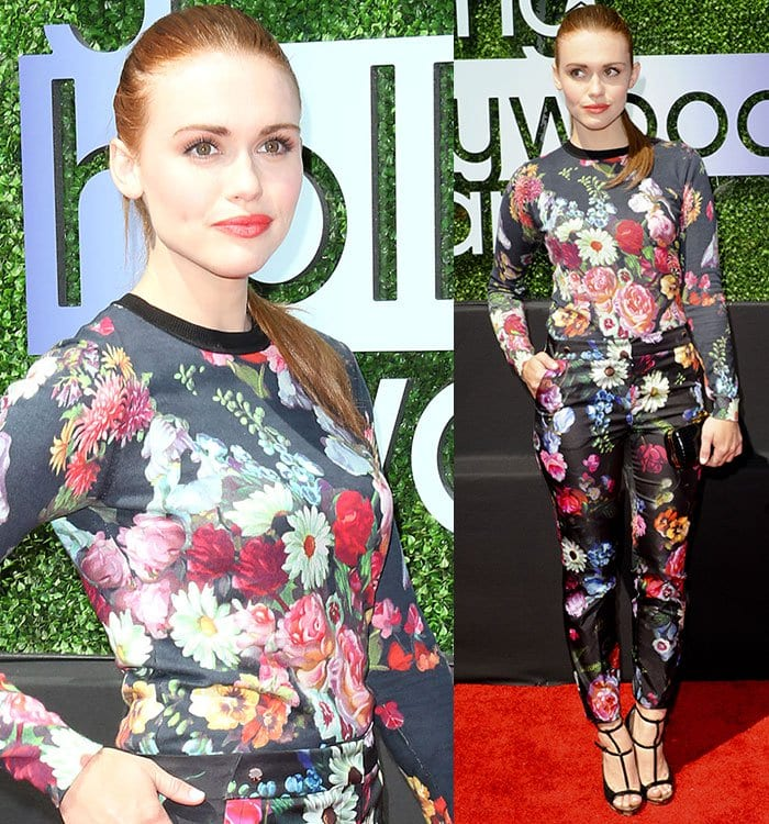 Holland Roden was summery in a matching floral long-sleeved top and trousers