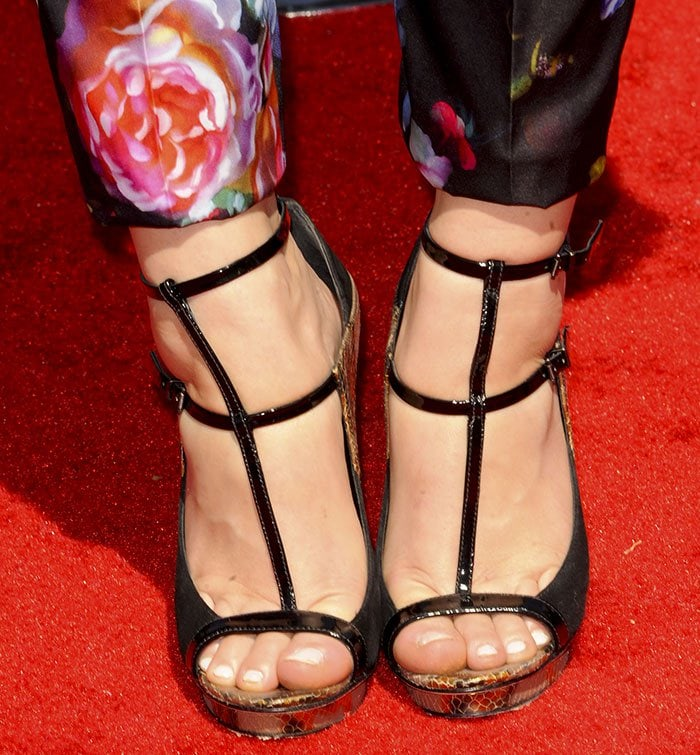Holland Roden wearing strappy sandals by B Brian Atwood