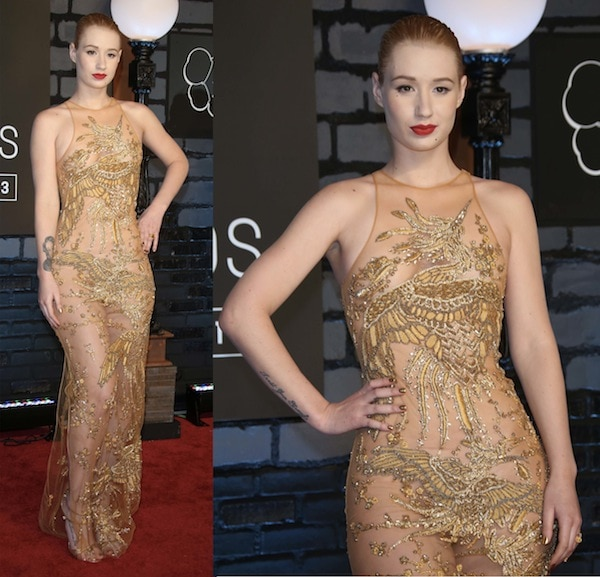 Iggy Azalea in a see-through gown that covered just the right parts of her body