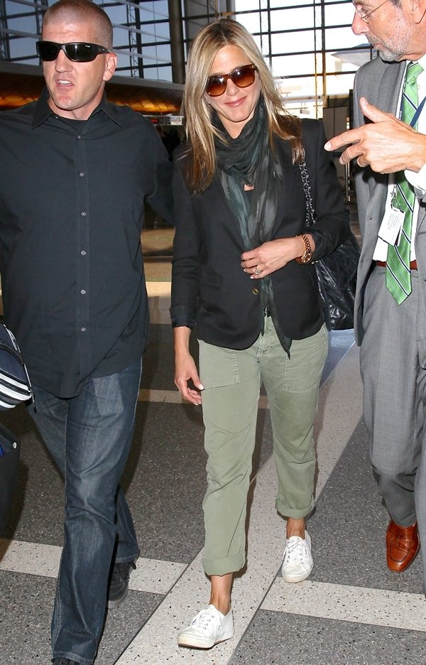 Jennifer Aniston catching a flight at Los Angeles International Airport (LAX) on August 12, 2013