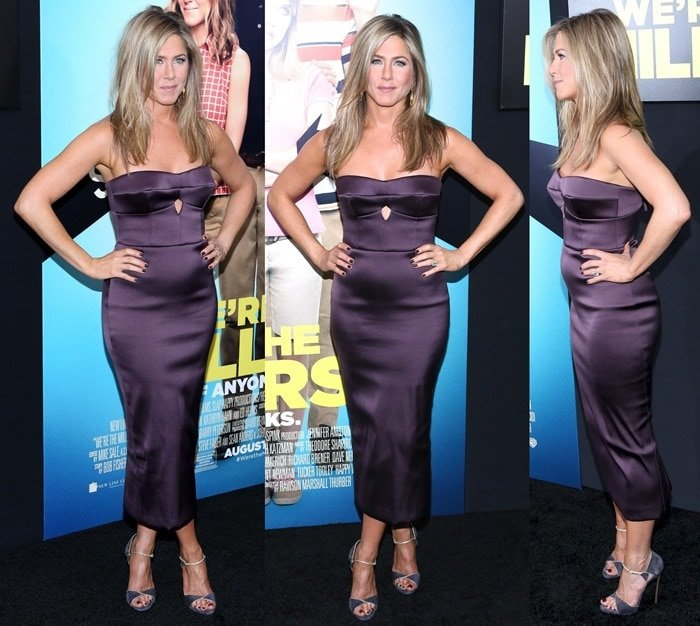 Jennifer Aniston's form-fitting plum Burberry dress showed a fairly round tummy