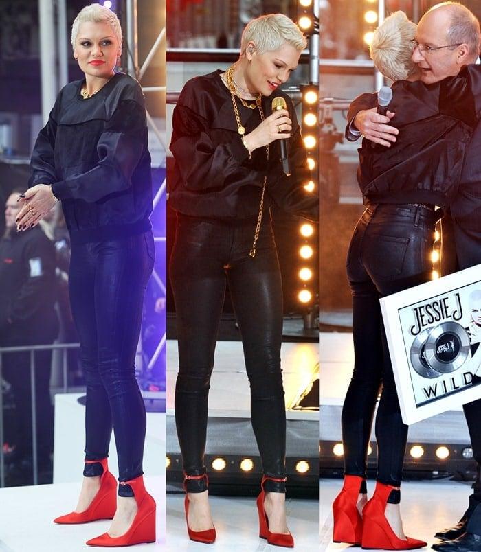 Jessie J wearing black leather skinnies and a black silk-velvet blend sweater
