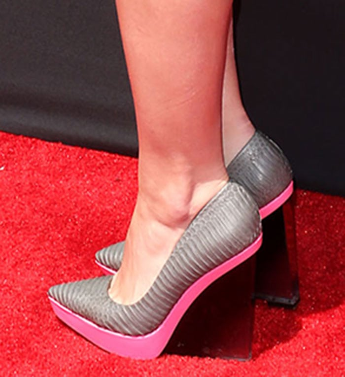 Jillian Rose Reed wearing textured leather shoes with contrast platforms and ombre translucent wedge heels