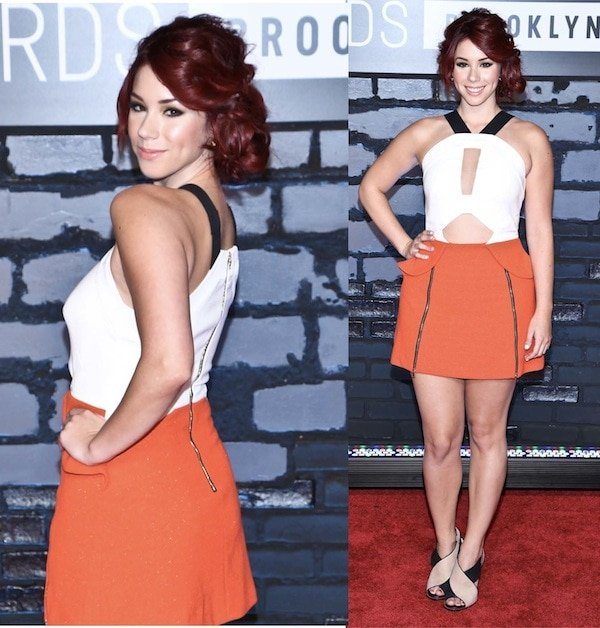 Jillian Rose wearing a Three Floor color-blocked dress