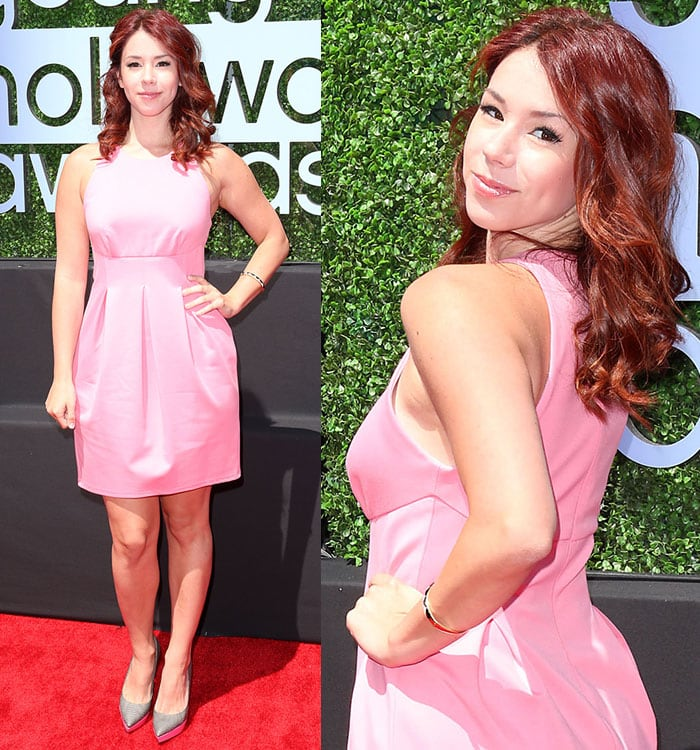 Jillian Rose Reed was pretty in a pink ABS dress
