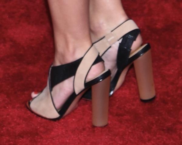 Jillian Rose Reed wearing L.A.M.B. color-blocked shoes