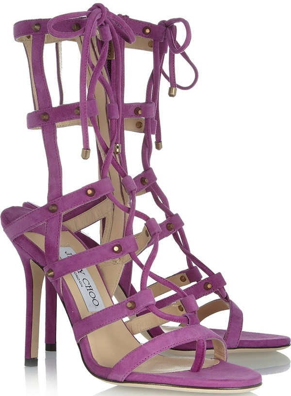Jimmy Choo Purple Meddle Suede Sandals