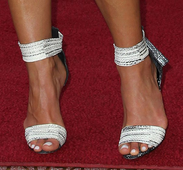 "Jordana Brewster showing off her feet in Pierre Hardy ""Cruise"" sandals"