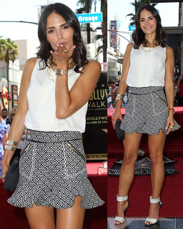 Jordana Brewster sported a Three Floor top and skirt that showed off her stunning legs
