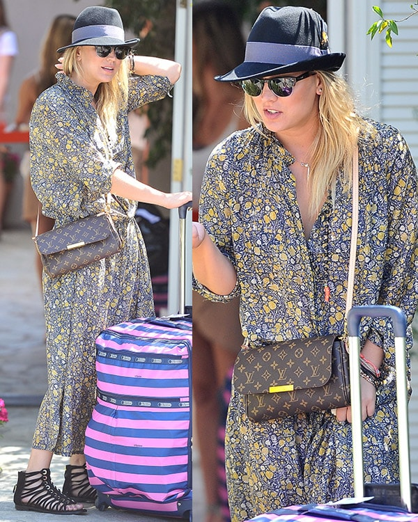 Kaley Cuoco wears a long button-down printed dress
