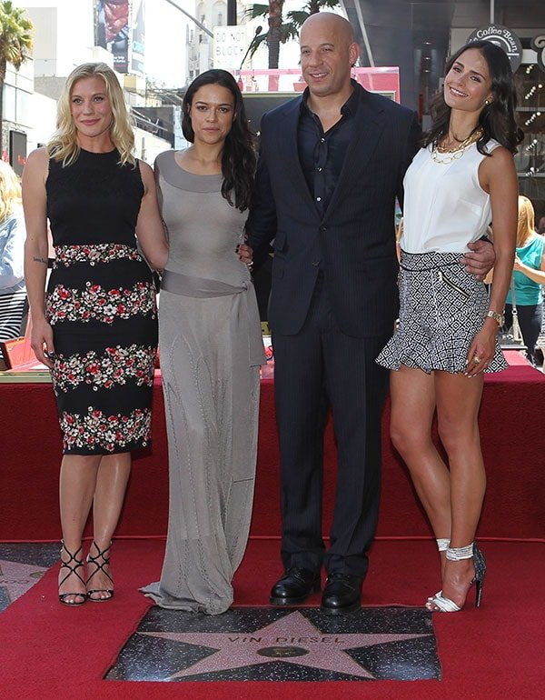 Katee Sackhoff, Michelle Rodriguez, Vin Diesel, and Jordana Brewster at the Hollywood Walk of Fame