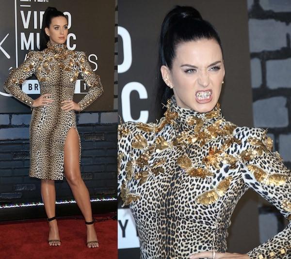Katy Perry wearing an animal-printed Ungaro dress