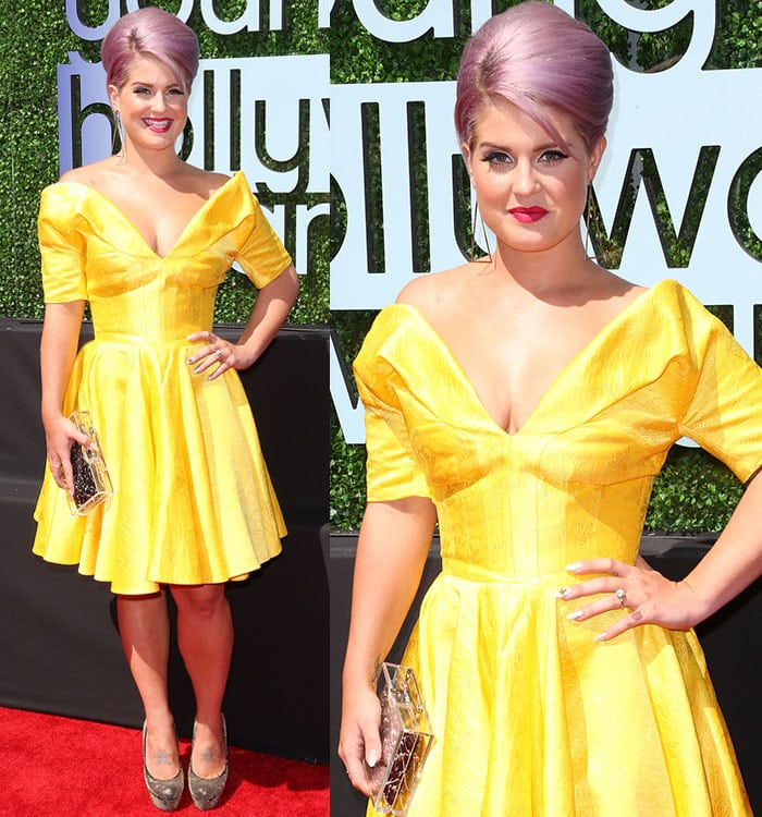 Kelly Osbourne opted for a fun and flirty bright yellow frock