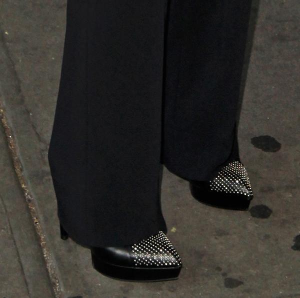 Keri Russel wearing studded Saint Laurent heels