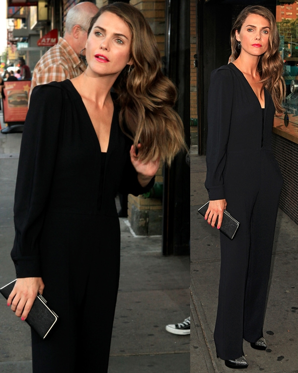 Keri Russell was classy and sophisticated in a minimalist black stretch-crepe jumpsuit by Stella McCartney