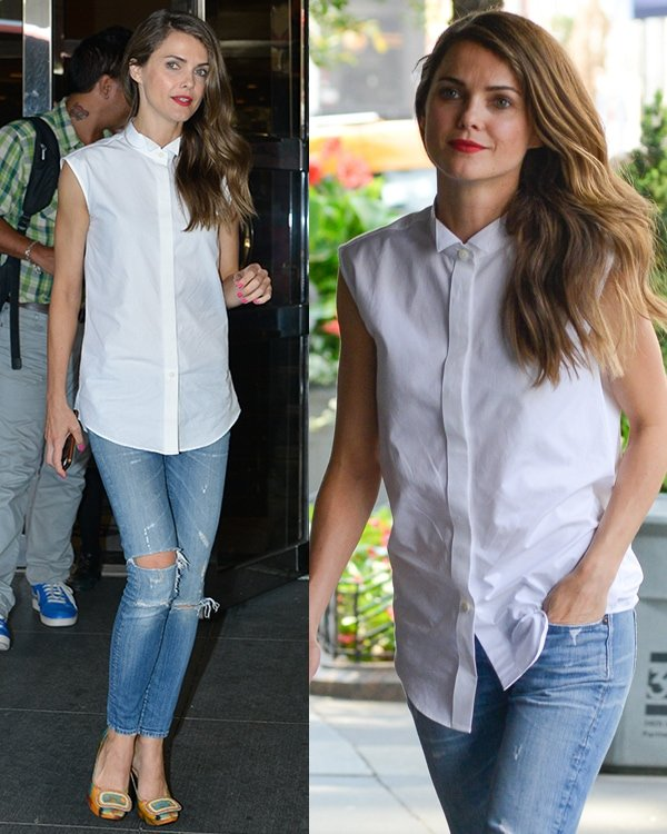 Keri Russell in a pretty ragged ensemble, which included her white sleeveless top and torn skinny jeans