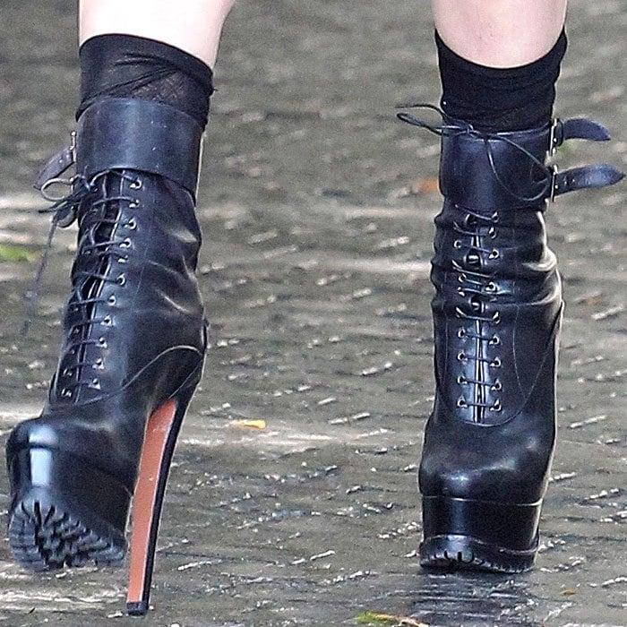 Lady Gaga's sky-high lug-soled platform boots