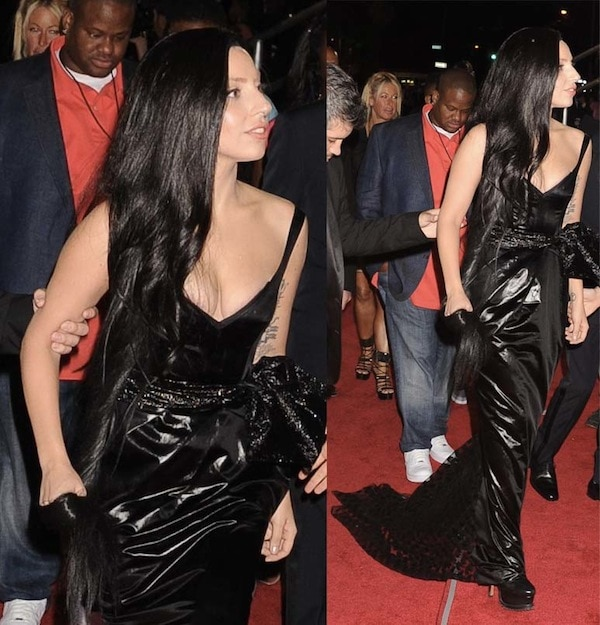 Lady Gaga wore a dull black Prabal Gurung gown that looked way too big for her