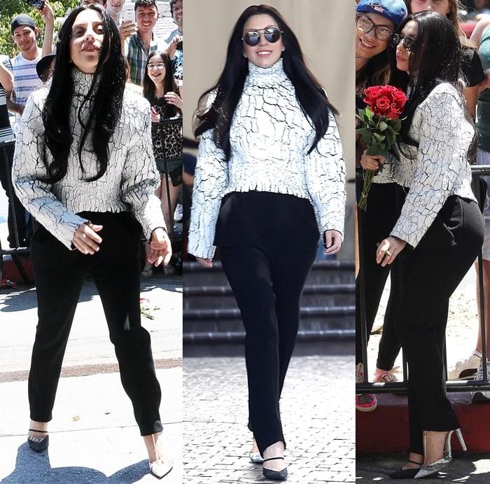 Lady Gaga wearing a Balenciaga Fall 2013 cracked-effect sweater and mismatched Balenciaga pumps