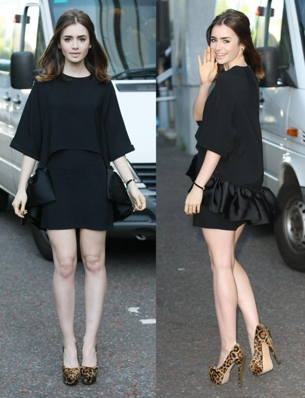 "Lily showed no sign of being tired in a black Stella McCartney batwing dress with Brian Atwood ""India"" heels"