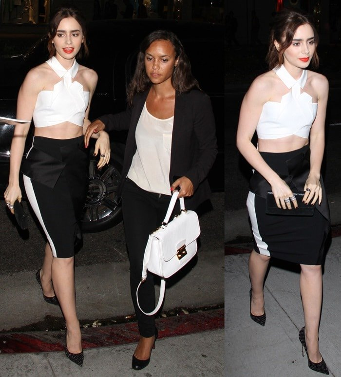 Lily Collins in a black pencil skirt outside the G-Star Raw store