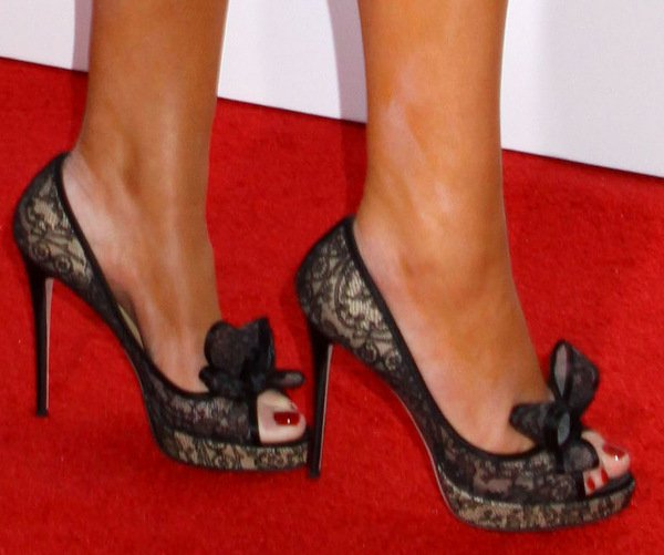 Mariah Carey's sexy feet in Valentino Garavani lace peep-toe pumps