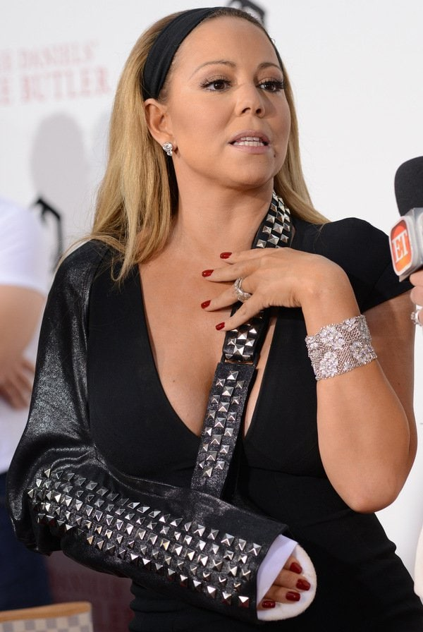 Mariah Carey dislocated her shoulder on the set of a music video shoot early last month in New York, hence the sling